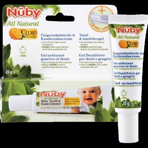 Nuby All Natural Fingerzahnbürste und Kinderzahncreme