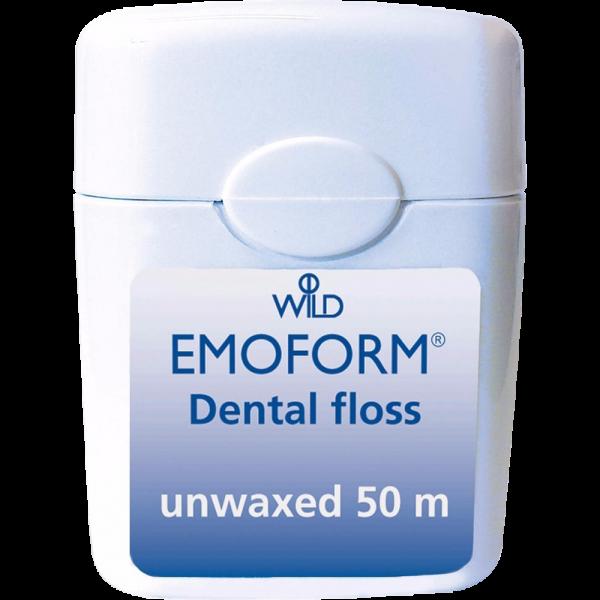 WILD Emoform Dental Floss Zahnseide: ungewachst, 50 m