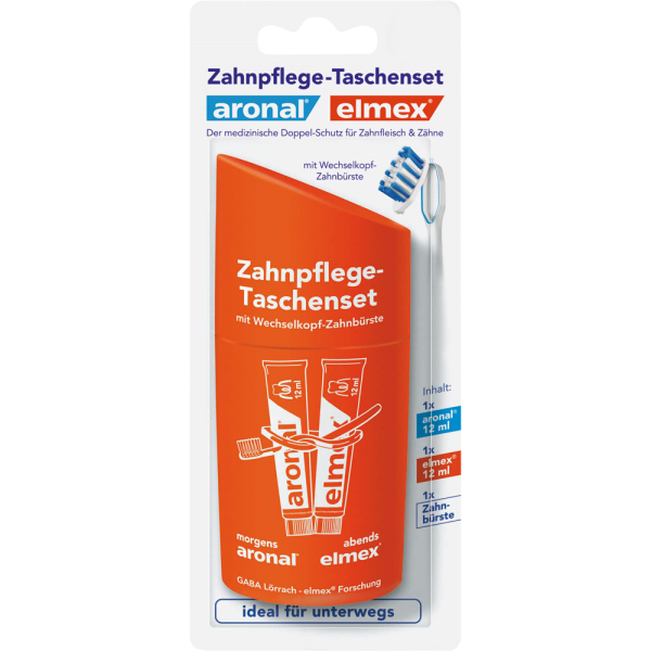 ARONAL/ELMEX Zahnnpflege Taschenset: 1 Wechselkopf ZB+ 2 x 12 ml Zahnpasta